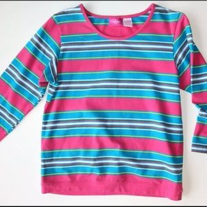 Pink/Aqua Striped Cotton Knit T-Shirt 3/4 Sleeves